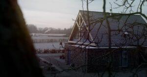boerderij bij zonsopgang